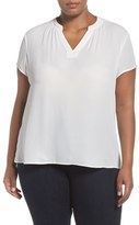 Sejour Plus Size Women's Split Neck Short Sleeve Blouse