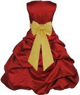 ekidsbridal Wedding Pageant Christmas Apple Red Flower Girl Dress gown Tiebow 808t