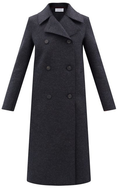 Harris Wharf London Double-breasted Pressed-wool Coat - Dark Grey