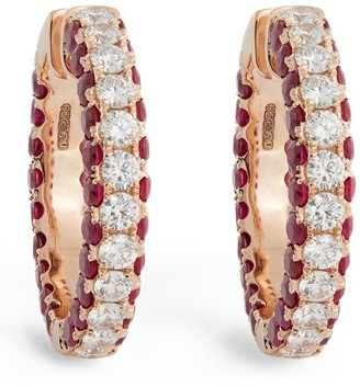 Shay Rose Gold, Diamond and Ruby Deco Hoop Earrings