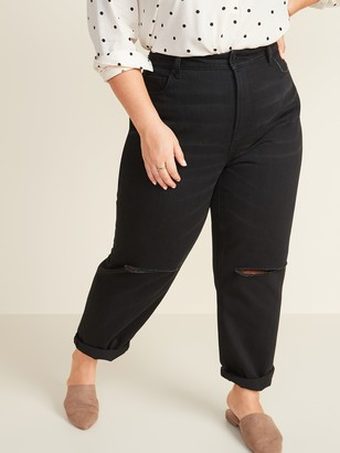 Old Navy Extra High-Waisted Sky Hi Straight Ripped Plus-Size Black Non-Stretch Jeans
