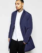 Asos Overcoat With Single Breast Styling In Navy