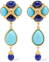 Ben-Amun Gold-plated, enamel and beaded clip earrings
