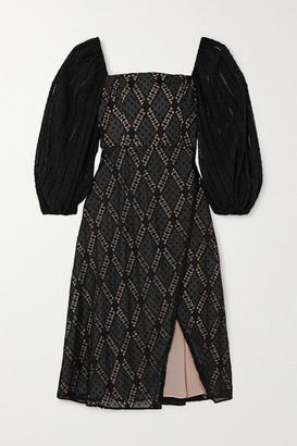 Alice + Olivia Alice Olivia - Taina Wrap-effect Broderie Anglaise Swiss-dot Tulle Dress - Black