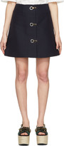 Marni Navy Button Down Miniskirt