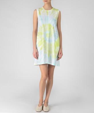 Atm Classic Jersey Sleeveless Tie Dye Dress - White Combo