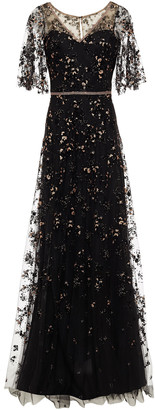 Marchesa Notte Glittered Flocked Tulle Gown