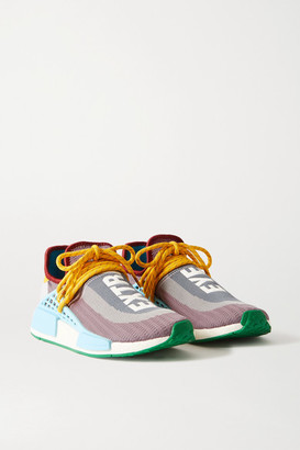 adidas + Pharrell Williams Nmd Hu Leather And Rubber-trimmed Primeknit Sneakers - Gray