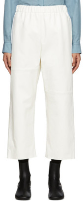 MM6 MAISON MARGIELA Off-White Leather Straight Trousers