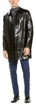 Tallia Men's Slim-Fit Black Shiny Raincoat with Leopard Print Faux Fur Lining