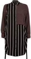 River Island Womens Burgundy mixed stripe ruched side shirt dress