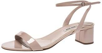 Miu Miu Beige Patent Leather Ankle Strap Block Heel Sandals Size 39