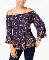Style&Co. Style & Co Style & Co Petite Printed Off-The-Shoulder Top, Created for Macy's