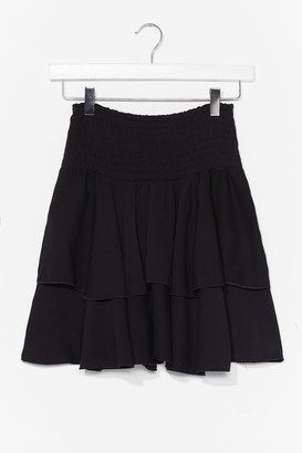 Nasty Gal Womens You Know the Frill Shirred Mini Skirt - Black