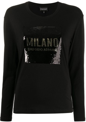 Emporio Armani Sequinned Logo Top