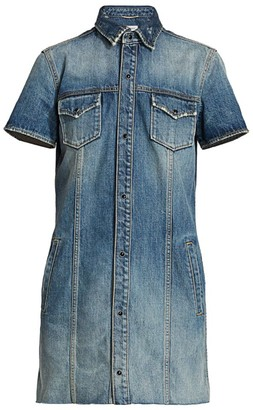Saint Laurent Short Sleeve Denim Mini Dress