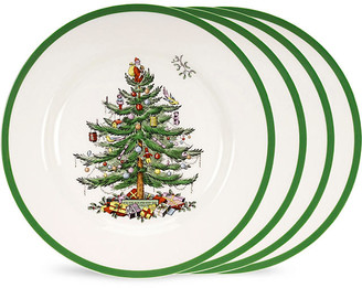 Spode Set of 4 Christmas Tree Dinner Plates with Box