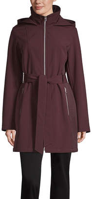 Liz Claiborne Hooded Belted Water Resistant Lightweight Trench Coat
