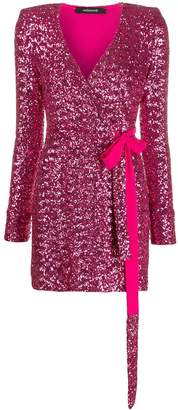 Andamane sequin embroidered side tie wrap dress