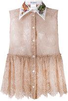 Melampo - sheer lace sleeveless shirt - women - Silk/Cotton/Nylon - 42