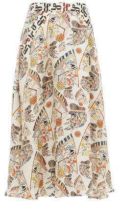 La Prestic Ouiston Burty Seeing You-print Silk Midi Skirt - Ivory Multi