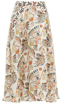 La Prestic Ouiston Burty Seeing You Print Silk Midi Skirt - Womens - Ivory Multi