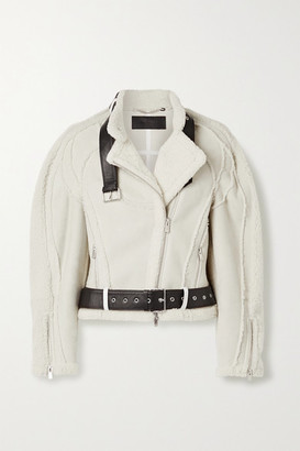 Peter Do Car Seat Leather-trimmed Shearling Biker Jacket - Cream