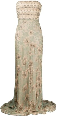 Valentino Pre-Owned 2012 Floral Lace Evening Dress