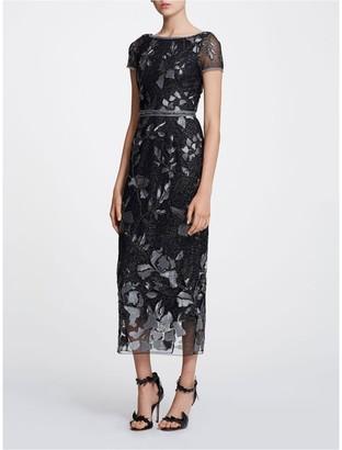 Marchesa Notte Short Sleeve Metallic Shift Dress