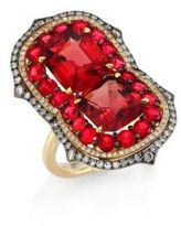 Ivy Duo Diamond & Red Spinel Ring