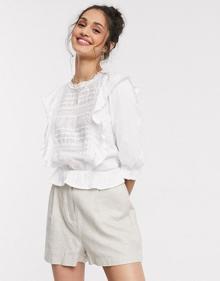 Miss Selfridge frill detail blouse in white