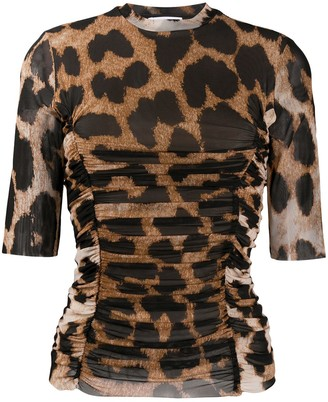 Ganni leopard-print ruched T-shirt