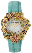 Betsey Johnson Goldtone Flower Case and Mint Leather Strap Watch
