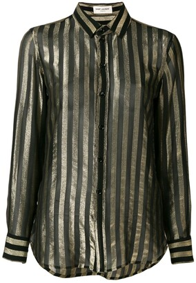 Saint Laurent Sheer Stripe-Pattern Shirt