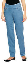 "As Is Denim & Co. Petite ""How Smooth"" Straight Leg Pull-On -Jeans"