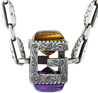 Gucci G Cube Silver G Motif Pendant Necklace