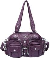 21KBARCELONA 21K 2 Top Zippers Closureultiple Pockets Handbags Washed Leather Purses Shoulder Handbags AK18579
