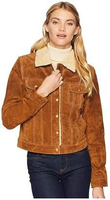 Scully Raewyn Sherpa Suede Ladies Fun Little Jean Jacket (Cinnamon) Women's Coat