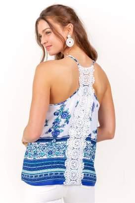 Arc Textiles Inc Kennedy Floral Crotchet Back Top - Blue