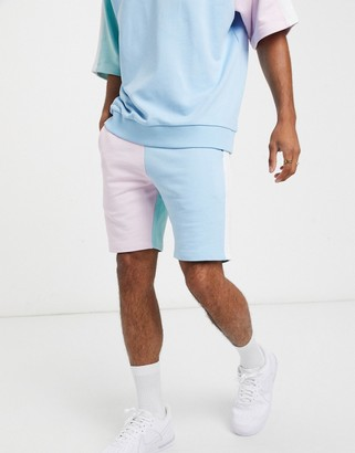 ASOS DESIGN co-ord jersey skinny shorts with pastel colour block