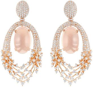 Hueb Luminus 18k Pink Gold Diamond and Rose Quartz Drop Earrings