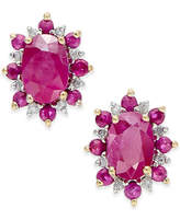 Macy's Ruby (1-5/8 ct. t.w.) and Diamond Accent Stud Earrings in 14k Gold