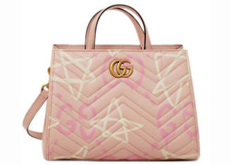 Gucci GG Marmont Top Handle Matelasse GucciGhost Small Pink/White