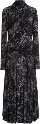 Victoria Victoria Beckham Pleated Printed Crepe Mock-Neck Midi Dress