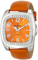 Peugeot Women's 310OR Silver-Tone Swarovski Crystal Accented Orange Leather Strap Watch