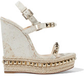 Christian Louboutin Cataclou 140 Embellished Cork Wedge Sandals - IT39