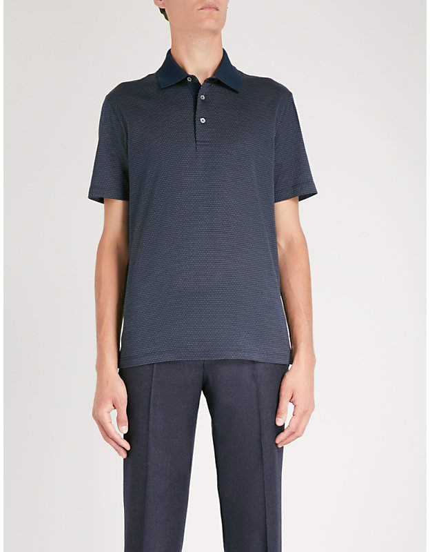 Canali Micro dot cotton-jersey polo shirt