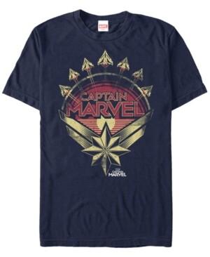Marvel Men's Captain Vintage Planes And Emblem Short Sleeve T-Shirt
