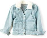 Chloé Kids Stonewashed Faux Fur Collar Jacket