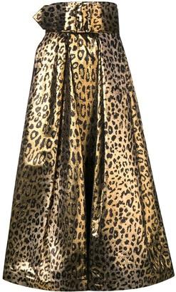 Sara Battaglia Leopard Print Full Skirt